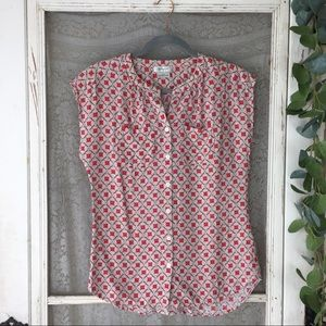 4/$25 VanHeusen Floral Button Front Top XS (GB29)